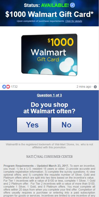 US - Desktop & Mobile - Sweepstakes - S&P - Walmart $1000 Gift ...